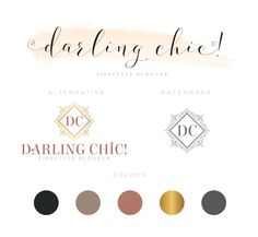 Premade luxury, chic Logo Design & Starter Branding Package Inc. Submark / Logo Stamp / Watermark CUSTOM LOGO by PeachCreme on Etsy