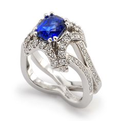Evolve Collection - 1.92ct Cushion Cut Blue Sapphire accented with Round Brilliant Cut Diamonds set in 14k White Gold and Platinum.