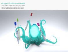 Octopus Toothbrush Holder by Erin O'Boyle, via Behance