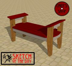 Sketch of the Day: Modern Courtyard Bench