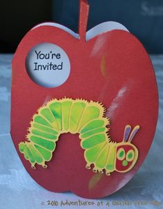 Cute invites, huh?     http://www.adventuresofaglutenfreemom.com/wp-content/uploads/2010/07/The-Very-Hungry-Caterpillar-Party-Invitations0.jpg