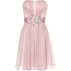 YOUNG COUTURE BY BARBARA SCHWARZER Short Flower Rose Embellished... ($370) ❤ liked on Polyvore featuring dresses, vestidos, short dresses, robe, pleated cocktail dress, pink bridesmaid dresses, bridesmaid dresses, pink cocktail dress and evening dresses