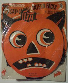 Vintage Halloween Cat and Jack-O-Lantern Head Diecuts.
