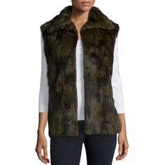 RtA Janis Fur Vest ($1,017) ❤ liked on Polyvore featuring outerwear, vests, military, vest waistcoat, fur sleeveless vest, slim vest, military style vest and sleeveless waistcoat