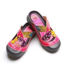 57d517ec3e18 Corky s Slip On Bump Toe Sandals in Handpainted Pink Leather at Signals.com  catalog