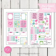 Bright Floral Planner Stickers | Free Printable