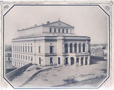 Ludwig Angerer - Bucharest, The old building of the National Theatre in 1856 Bucharest Romania, National Theatre, Old Building, Time Travel, Tourism, Old Things, Louvre, Black And White, Architecture