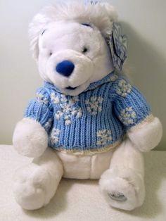 New Disney Store White Winnie The Pooh Blue Knitted Sweater Hat Snowflakes | eBay