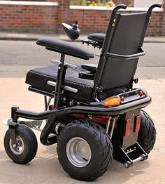 the ultimate do everything power wheelchair built by hand by the guy who owns this blog. I LOVE what he does!
