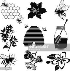 Vector Art : honey and bees with beehive icon set