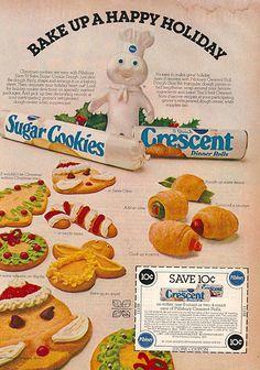 Pillsbury Crescent Rolls & Sugar Cookies Christmas Ad w/ Coupon Retro Advertising, Retro Ads, Vintage Advertisements, Vintage Ads, Vintage Posters, Vintage Food, Retro Food, Vintage Images, Retro Recipes