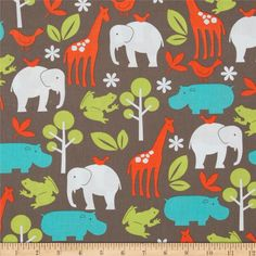 Michael Miller It's A Boy Thing Zoology Dirt from @fabricdotcom  Designed by Michael Miller, this cotton print fabric is perfect for quilting, craft projects, apparel and home décor accents. Colors include white, turquoise, orange and lime on a dirt brown background.