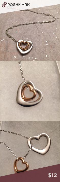 "Adorable Double Heart Fashion Necklace 🆕💕 Adorable & trendy! New Double Hearts Pendant Necklace! Pendants 3 times silver/gold plated fashion necklace with 2 heart pendants. can be worn together or individual. Large 💗 pendant about 0.9"", small 💗pendant about 0.5"", link chain adjustable from about 17.5"" to 19.5""; Comes in gift box! 💕🆕 Jewelry Necklaces"
