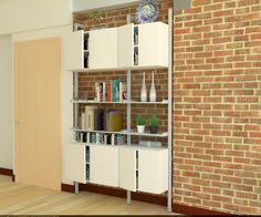 Modern shelves and cabinets supported by our custom ISS poles, the PAL-series! Modern Shelving, Cabinets, Bookcase, Shelves, House, Inspiration, Furniture, Design, Home Decor