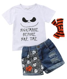 The perfect Halloween outfit for your sweet little girl! Fun printed tee + Denim shorts Matching headband includes Stylish animated prints that is surely an eye-catcher Unicorn Halloween, Halloween Dress, Halloween Outfits, Baby Girl Halloween Outfit, Toddler Girl Halloween, Leopard Dress, Fun Prints, Dress With Bow, Printed Tees