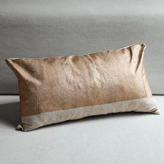 glazed pillow cover, $24. Burnished metallic block print look on lumbar pillow