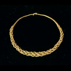Gold braided Viking Bracelet: The gold-and silversmiths of the Vikings were very adept at making their own jewelry. They were skilled in weaving thick gold wires. These braided gold bracelet dating from the second half of the tenth century. Along with other Scandinavian jewelry is the bracelet found in excavations in Wijk bij Duurstede. Through contacts with the Vikings bracelet ended up here. Date: 800-850 A.D.