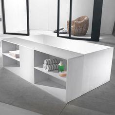"68"" Cooper Freestanding Resin Tub with Bathroom Storage Unit"