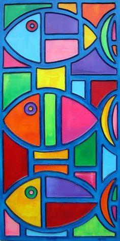 "Painting : ""Something's Fishy (Original art by Shawn Ardoin) Fabric Painting, Painting & Drawing, Original Art, Original Paintings, Arte Pop, Fish Art, Elementary Art, Art Lessons, Painted Rocks"