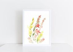 Watercolor Gladiolus Painting, Original Floral Painting, Original Art, A5, Watercolor Flowers, Art for Home, Mothers Day, Gift, Home Decor  This is an ORIGINAL WATERCOLOR PAINTING.  Infuse any room with warmth and style with this beautiful watercolor painting of gladiolus. Or surprise your mother this Mothers Day with one of a kind, original artwork! The painting will also make a wonderful housewarming, wedding, anniversary or any occasion present. Painted with professional watercolor paints…