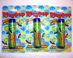 Ring Pop Candy Green Apple Flavored Lip Balm Lip Gloss 3 Tubes Carded and Sealed