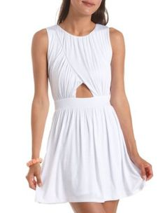 Ruched Cutout Skater Dress