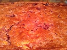 Easy cherry-pineapple bread pudding. 1 yellow box cake mix 1 can of cherry pie filling 1 can of crushed pineapple 1/2 stick of melted butter Mix together and pour in 9x13 buttered pan Bake 350 degrees for 70 minutes You will have a moist,dense bread pudding. Cool and serve with whipped cream or ice cream