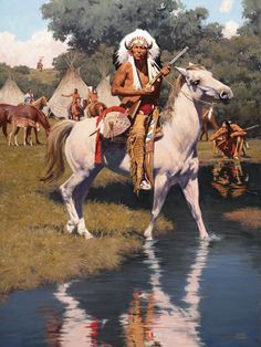 David Mann's oil paintings focus on the visually rich, historic Native American culture of the mid He is known for his use of strong light and dynamic shadow in daylight, and interior settings. Native American Face Paint, Native American Warrior, Native American Girls, Native American Paintings, Native American Pictures, Native American Quotes, Native American Beauty, American Indian Art, Native American History