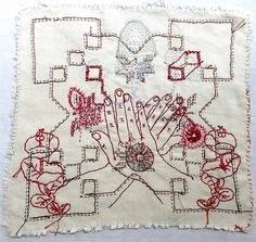 """South African artist, Willemien de Villiers, describes her embroidery: """" I create intricate, stitched narratives that centre around a deeply felt inter-species connectedness, most evident whe… Embroidery Art, Cross Stitch Embroidery, Textiles, Mosaic Portrait, Contemporary Embroidery, Contemporary Art, South African Artists, Textile Artists, Couture"""