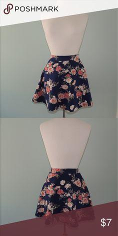 Forever 21 Floral Skater Skirt Pink Floral print, Navy Forever 21 Skirts Circle & Skater