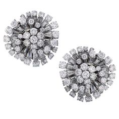 1STDIBS.COM Jewelry & Watches - Van Cleef & Arpels - VAN CLEEF & ARPELS Pair of Diamond Ear Clips/Brooches - Symbolic & Chase