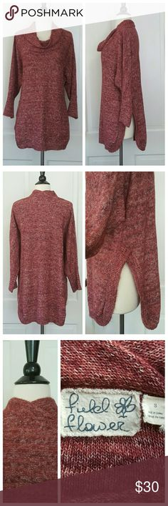 Field Flower Anthropologie Red Tunic Sweater Field Flower Anthropologie red tunic sweater, long sleeves. Sweater has a cowl neck and and a side slit with rounded edges. Anthropologie Sweaters
