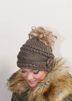 0b30f1d2f45 Messy Bun Hat Beanie Ponytail Beanie Messy Bun Hat CHOOSE COLOR Taupe Brown  Braided Ponytail Hat