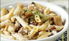 Penne with eggplant, thyme, and goat cheese