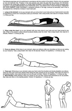 McKenzie Exercises - For helping anyone with low back pain  great exercise
