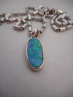 Vintage Marked 925 STERLING Silver Genuine Black Australian Opal Pendant on Monet Silver Plated Chain Monet Chain 15 PLUS FREE Extension 2.5=17.5 Long