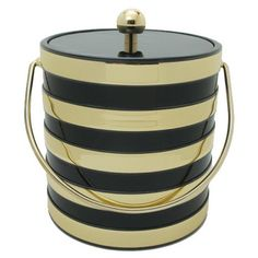 Black & Gold Striped Ice Bucket