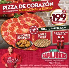 Papa John's: Pizza de Corazón 2 Ingredientes $199 En este mes del amor y la amistad conPapa John's lo puedes festejar a lo grande con la promoción dePizza de corazón de 2 ingredientes (Grande) + Adicional a elegir: Chicken poppers, Apple Twist o 2 refrescos de 200 ml por sólo $199 ... -> http://www.cuponofertas.com.mx/oferta/papa-johns-pizza-de-corazon-2-ingredientes-199/