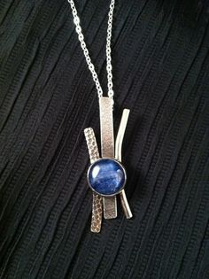 Hand crafted sterling silver pendant with bezel set kryonite, abstract with texture, on a chain, SuSu Studio - add lapis and diamonds