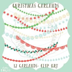 #Christmas Garlands #ClipArt - http://luvly.co/items/4373/Christmas-Garlands-Clip-Art
