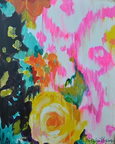 yellow rose with brilliant pink ikat.   Originals and prints will be available soon on www.kristygammill.com