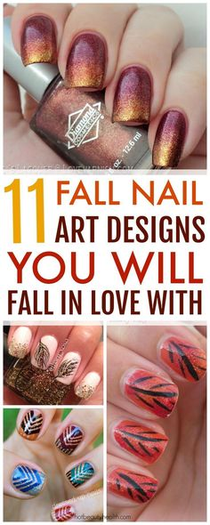 Nail Color 11 Fall Nail Art Designs You Need to Try Now Here's a curated list of 11 fall nail art design tutorials with the hottest nail color shades for fall! They're easy to recreate and super fun to do this autumn. Nail Design Spring, Fall Nail Art Designs, Colorful Nail Designs, Nail Polish Designs, Nail Art For Fall, Colorful Nails, Nails Design, Design Tutorials, Nail Tutorials