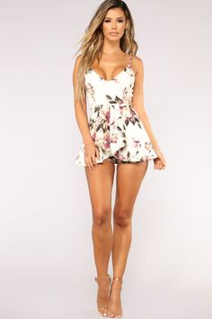 Roam Around Floral Romper - Ivory – Fashion Nova Sexy Outfits, Sexy Dresses, Cute Dresses, Summer Outfits, Stylish Outfits, Sleepwear Women, Pajamas Women, Silk Nightgown, Mini Skirt Dress