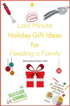 Need a last minute holiday gift? Here are some of my favorite holiday gift ideas for feeding a family, including books, kitchen tools, and more. #gifts #giftideas #healthygifts #feedingfamily #feedingkids #holidays #holidaygifts
