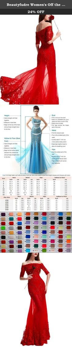 Beautyfudre Women's Off the Shoulder 1/2 Sleeve Appliques Sweep Train Sheath Wedding Dress for Prom Red US12. Silhouette: Sheath Neckline: Off the Shoulder Embellishment: Appliques,Sequin Back Detail: Lace-up,Backless Occasions: Wedding Dress,Bridal Gown,Evening Dress,Party Dress,Prom Dress,Church,Hall,Garden,etc Season: Spring,Summer,Autumn,Winter Kindly Notes: 1.Due to the variation of light and display brightness,the color of the picture is only for your reference.Thanks for your…