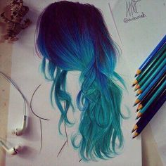 Drawn blue and green hair