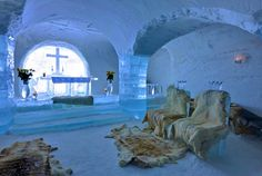 Finnmark, Norway Norway's most famous ice building is probably the chilly Sorrisniva Igloo Hotel, where visitors can get married in an ice chapel, admire an ice sculpture gallery and even drink in an ice bar, where (of course) the glasses are made of ice. You'll never complain about tepid cocktails again.