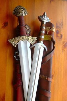 "Viking Swords by Vometia, via Flickr. Vikings named their swords (like men name ships and planes).  The most popular name man gave their swords, Laxdoela.  That means ""leg biter.""   Vikings liked going for the exposed legs of their enemies...just below the chain mail shirt and under the shield.  Chop 'em down and after disabled, go for the kill."