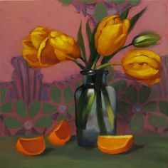 Diane Hoeptner: Canary Yellow Tulips small original oil painting