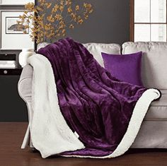 Merous Sherpa Blanket Reversible Fuzzy Luxury Microfiber Super Soft Cozy All Season Blanket for Bed or Couch Purple Twin Sherpa Throw Blankets X Fuzzy Blanket, Cozy Blankets, Cozy Bedroom, Dream Bedroom, Bedroom Ideas, Bedroom Decor, Purple Bedding, Bedroom Accessories, Cozy Place